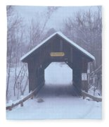 New England Covered Bridge In Winter Fleece Blanket