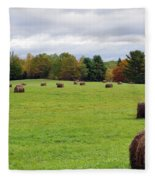 New England Hay Bales Fleece Blanket