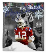 New England Patriots Christmas Card Fleece Blanket