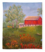 New England Red Barn Summer Fleece Blanket