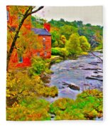 New England Stream In Fall Fleece Blanket