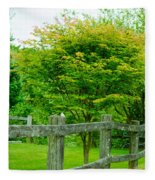 New England Wooden Fence Fleece Blanket