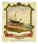 New Hampshire Coat Of Arms - 1876 Fleece Blanket