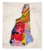 New Hampshire Map Art - Painted Map Of New Hampshire Fleece Blanket