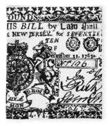 New Jersey Banknote, 1763 Fleece Blanket