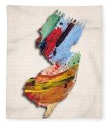 New Jersey Map Art - Painted Map Of New Jersey Fleece Blanket