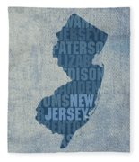 New Jersey Word Art State Map On Canvas Fleece Blanket by Design Turnpike