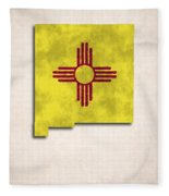 New Mexico Map Art With Flag Design Fleece Blanket