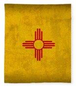 New Mexico State Flag Art On Worn Canvas Fleece Blanket