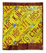 New Mexico State License Plate Map Fleece Blanket