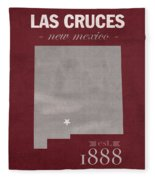 New Mexico State University Las Cruces Aggies College Town State Map Poster Series No 075 Fleece Blanket