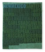 New Mexico Word Art State Map On Canvas Fleece Blanket
