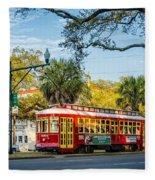 New Orleans - Canal St Streetcar 2 Fleece Blanket