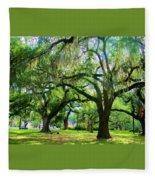 New Orleans City Park - Live Oak Fleece Blanket