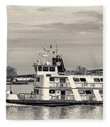 New Orleans Ferry Bw Fleece Blanket