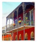New Orleans French Quarter Architecture 2 Fleece Blanket