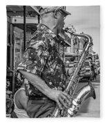 New Orleans Jazz Sax Bw Fleece Blanket