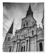 New Orleans St Louis Cathedral Bw Fleece Blanket