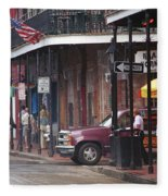 New Orleans Street Scene Fleece Blanket