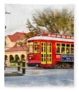 New Orleans Streetcar Paint Fleece Blanket