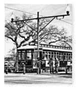 New Orleans Streetcar Silhouette Fleece Blanket