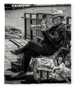 New Orleans Waterfront Jazz Fleece Blanket