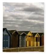 Colourful Wooden English Seaside Beach Huts Fleece Blanket