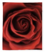 Close Up Heart Of A Red Rose Fleece Blanket