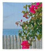New Photographic Art Print For Sale On The Fence Montecito Bougainvillea Overlooking The Pacific Fleece Blanket
