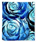 Pop Art Blue Roses Fleece Blanket