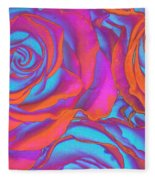 Pop Art Pink Neon Roses Fleece Blanket
