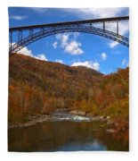 New River Gorge Fiery Fall Colors Fleece Blanket