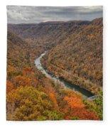 New River Gorge Overlook Fall Foliage Fleece Blanket