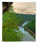 New River Railroad Bridge At Hawk's Nest  Fleece Blanket