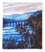 New River Trestle In Fall Fleece Blanket