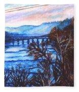 New River Trestle In Fall Fleece Blanket