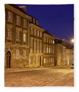 New Town Street And Houses At Night In Warsaw Fleece Blanket
