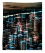 New York - The Night Awakes - Dark Fleece Blanket