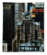 New York At Night - Skyscrapers And Office Windows Fleece Blanket