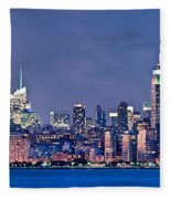 New York Blue Hour Panorama Fleece Blanket