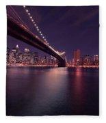 New York Brooklyn Bridge At Night Fleece Blanket