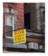 New York Chinese Laundromat Sign Fleece Blanket