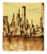 New York City Skyline 79 - Water Color Panorama Fleece Blanket