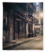New York City Alley At Night Fleece Blanket