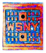 New York City Autumn Street Detail Pop Painting Fleece Blanket