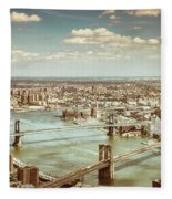 New York City - Brooklyn Bridge And Manhattan Bridge From Above Fleece Blanket