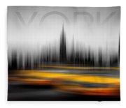 New York City Cabs Abstract Fleece Blanket