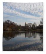 New York City Central Park Bow Bridge Quiet Reflections Fleece Blanket