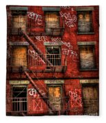 New York City Graffiti Building Fleece Blanket