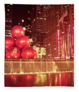 New York City Holiday Decorations Fleece Blanket